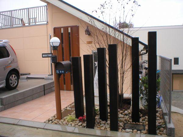 枕木のフェンス施工|宝塚市のN様邸